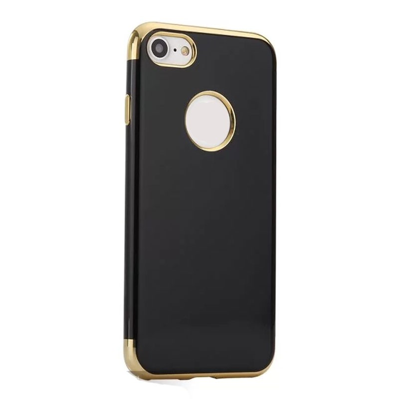 For iphone 8 phone case pure black style soft TPU eletroplating 3 part board phone case