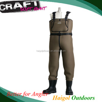 Wader---waist high waders yellow color neoprene cloth rubber boots waterproof cloth