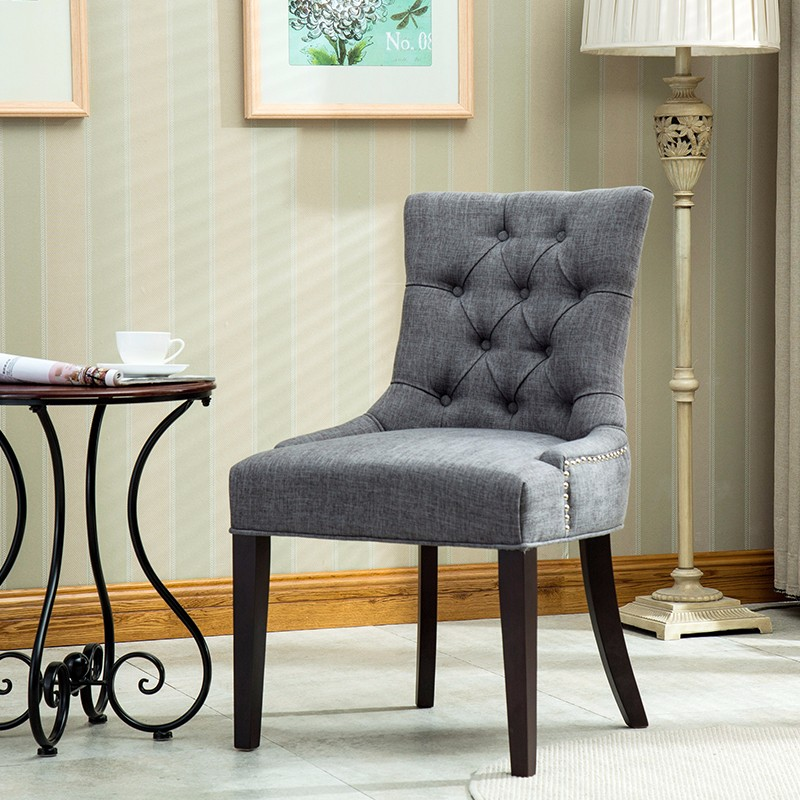 5015 European Style Tufted Collection Ring <strong>Chair</strong> With Armrest, Nailed Trim Living Room Furniture