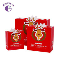 New Christmas red <strong>paper</strong> gift bags with handles gift packing <strong>paper</strong> tote bag with specifications available