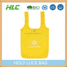 small MOQ long handle polyester recycle portable shopping bag