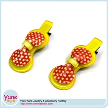 Lemon yellow double bowknot hair clips hairpins for children girls