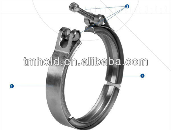 Double bolts hose clamp, O style V band exhaust pipe clamp