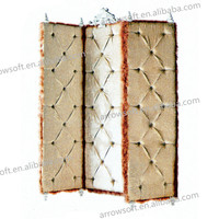 Chinese Feature Antique Leather Room Divider Wooden Partition screen
