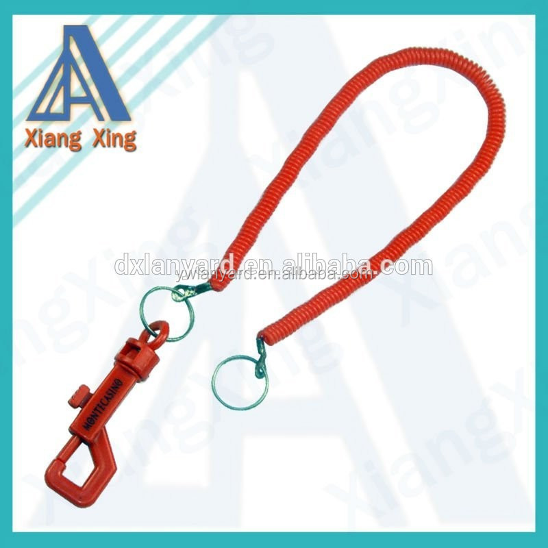 plastic spiral coiled cord for promotion,plastic coil cord with keychain