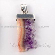 Side Amethyst Slice Gemstone Pendants Amethyst cut stone Pendants