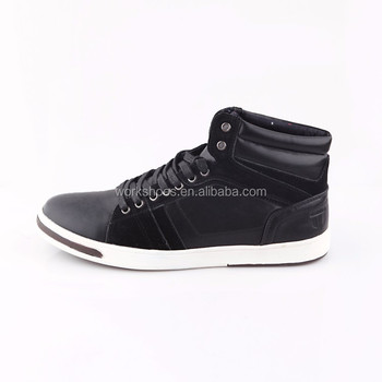 New Design Flat Lace Up Black High Top Men Casual Shoes