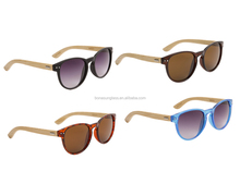 wholesale wooden bamboo round sunglasses translucent blue cat eye sun glass