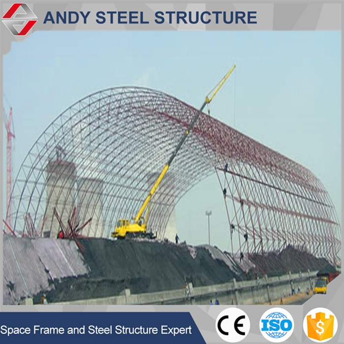 Space roof trusses systems for prefabricated coal storage