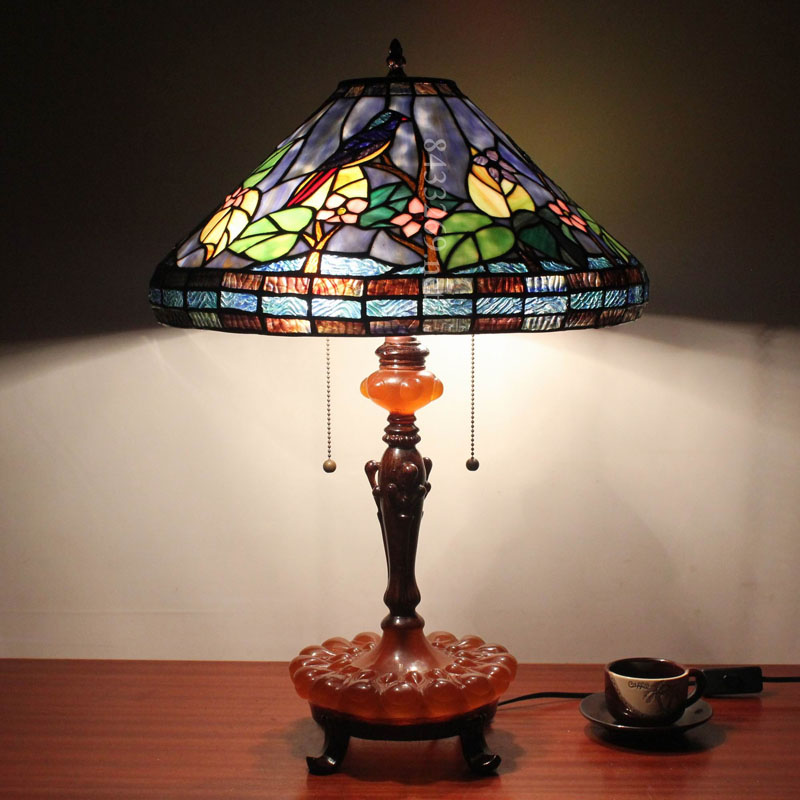 Tiffany style parrotstained glass table lamp design classic