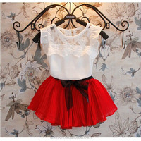 wholesale beautiful girls clothing red skirt with white lace tshirt set cheap baby girls clothing