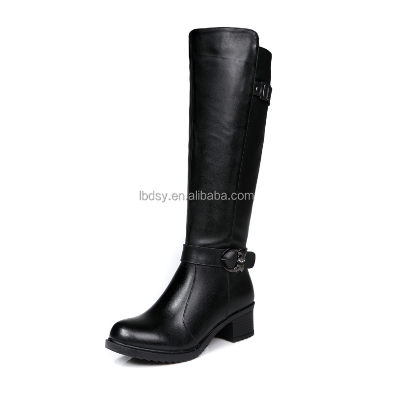 Ladies low heel leather boots winter fashion shoes women custom boots