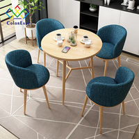 Simple 1 Table with 4 Chairs Solid Wood Frame Fabric Cushion Cafe Table CEDT017 for Coffee Bar