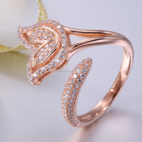 Unique designs for girls silver 925 ring rose gold plaing ring