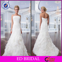 New Arrival Ivory Drap Ruffle Organza Strapless with Floor length Women's Wedding Dresses