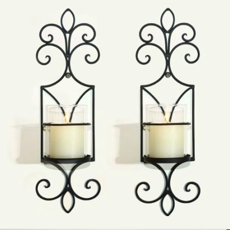Iron Vertical Wall Hanging Candle Holder Sconce Accents