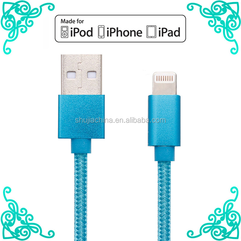 Braided 2.4A fast charger usb data MFI lighting 8pin usb wire cable for iphone