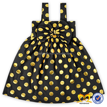Baby Summer Black Big Polka Dots Girls Party Dresses American Children Boutique Casual Dress