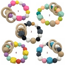 Custom BPA Free baby silicone teether beads wooden ring silicone wood teething toys TH1120