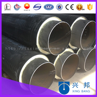 pu rigid foam insulated hdpe coated heat resistant insulation steel tube