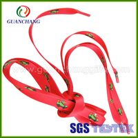 Custom 100% polyester/cotton promotional cheap product flat feature wholesale new design printed shoelaces with plastic clips