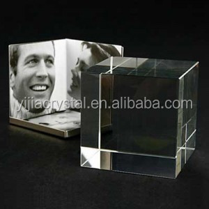 Wholesale Crystal Glass Cube Blank Crystal Block for Photo Engraving