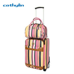 Cathylin 2015 large set matching trolley pu leather travel luggage