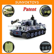 1:72 Simulation German Tiger RC Panzer Tank , 14CH RC With 360-Degree Rotation, LED Light Mini RC Tank
