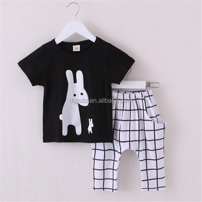 Summer Boys Clothes 2016 New Baby Boy Clothing Set Pattern Rabbit Toddler Boys Clothing Plaid Kids Clothes Children Clothing Set