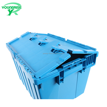 54L Hot Sale Nesting Logistic Containers Plastic Moving Bins Solid Tote Box with Hinged Lids
