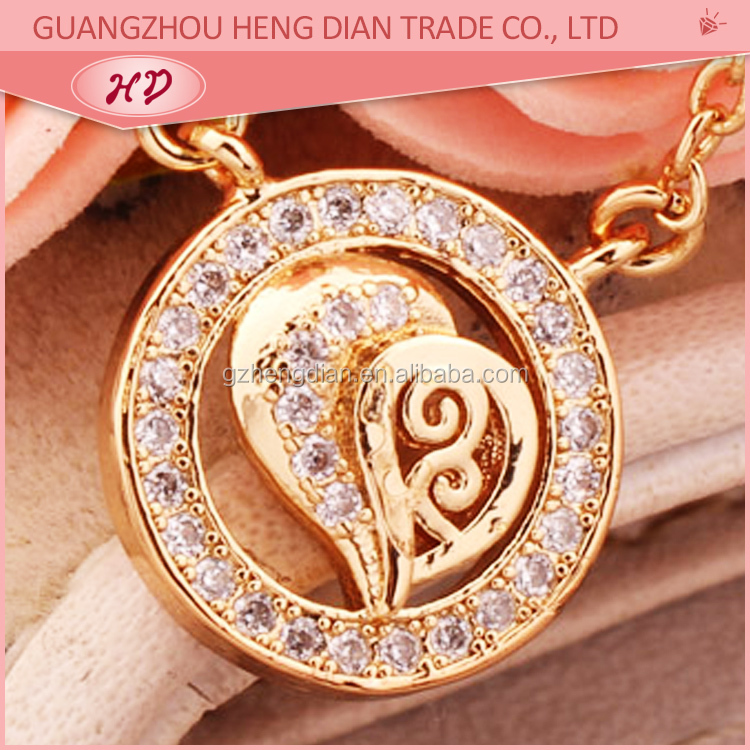 18k gold plated hollow heart pendant , white zircon stone pendant , pendants necklace