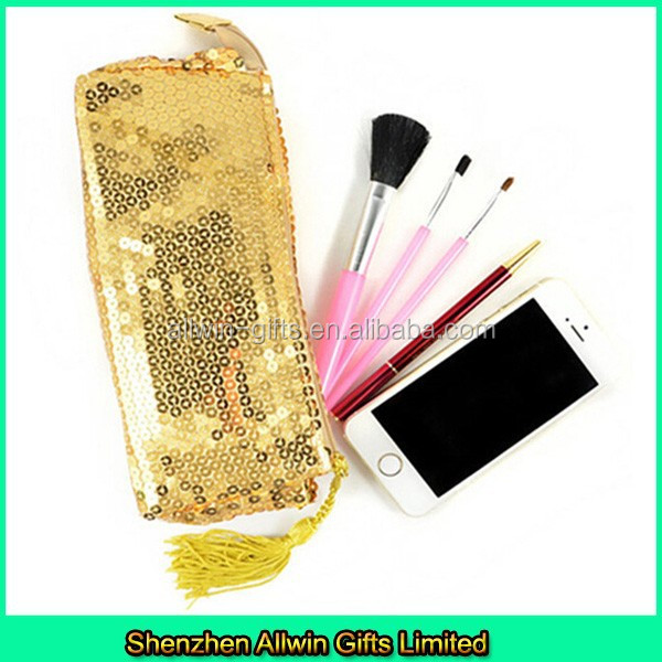Fashion Sequin makeup brush bag with tassel zipper puller