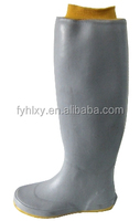 french grey waterproof cylinder opening elastic rubber ladies gum boots flat heel thigh knee boot