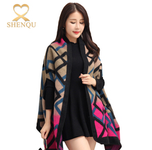 2017 winter turkish style plaid oversized 70% acrylic 30% polyester scarf shawl fashion Pashmina knitted ponchos for wome shawl