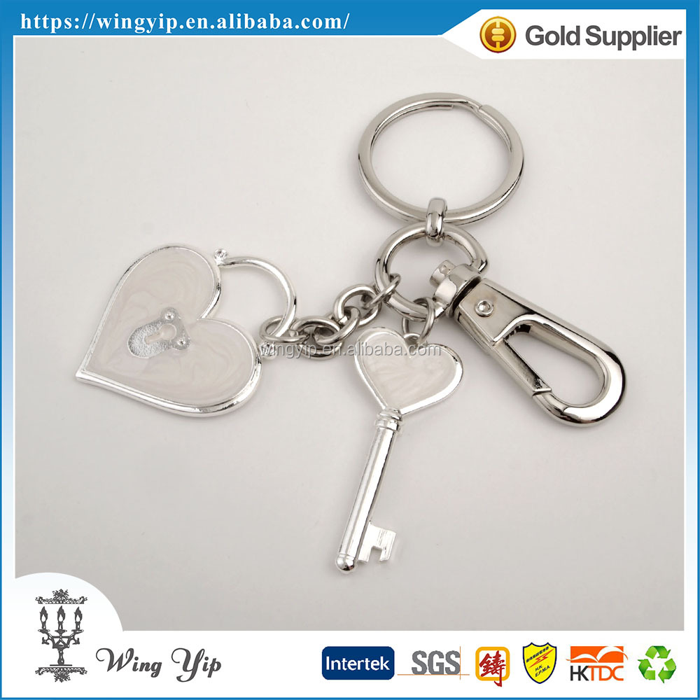 Custom made fancy Heart Shape Blank Silver Promotion Key Chain