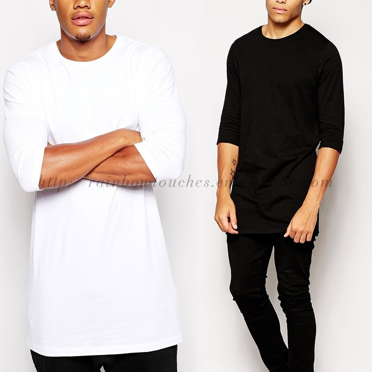 Lastest Plain Tee 3/4 Sleeve Custom Long Line T Shirt Men