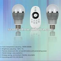 1Remote controller with 2PCS 6W LED Bulbs warm white ,Color Temperature Adjustable remote control led light bulb