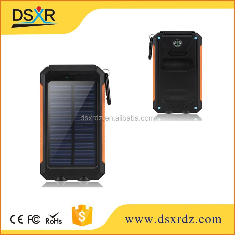 Free Sample,8000mah Solar Power Bank,Waterproof Solar Charge With LED Light