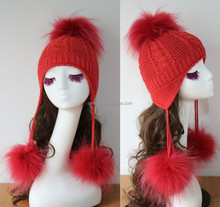 beanie hat with earflaps pattern with lovely fur pompons/ knit pattern for hat with earflaps