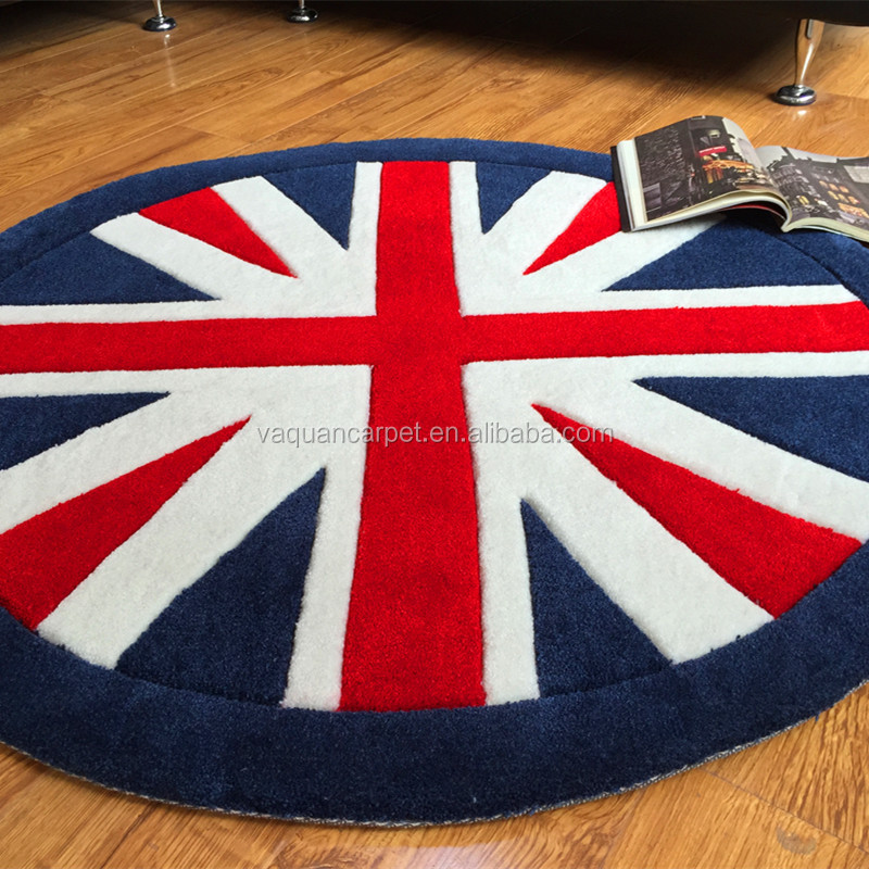 Customized Modern Design Flag Pattern Acrylic Carpet Round And Thick Rug Baby/Kids Rug