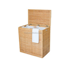home luxury design bamboo wood clothes laundry hamper basket