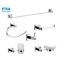 Hot Sale New In Stocked Square Bathroom Bath Accessories Sanitary Ware Set 60000-CR
