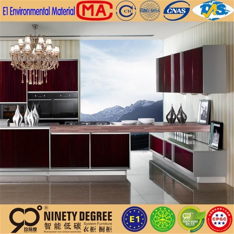 Client first mdf wrapping paper kitchen cabinet