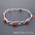 Rhodium Plated Women Gifts Amber Jewelry Silver Bracelet DR032725B