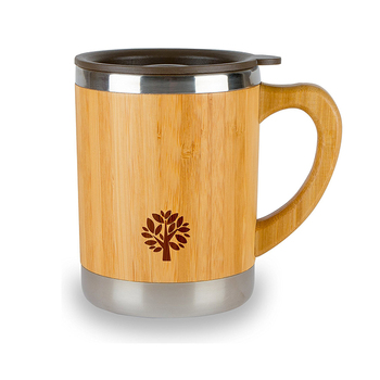 Easy carry anti skid travel mug with lid wooden drinking cup