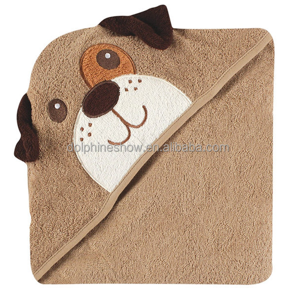 LOW MOQ Cheap 100% bamboo hooded baby bath towel Fashion cute dog design kids embroidery towel