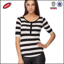 women white and black striper t shirt open neck with buttons