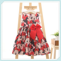 New summer cute baby girls sleeveless red princess dress children cartoon minnie mickey bow girl party clothes kids wear