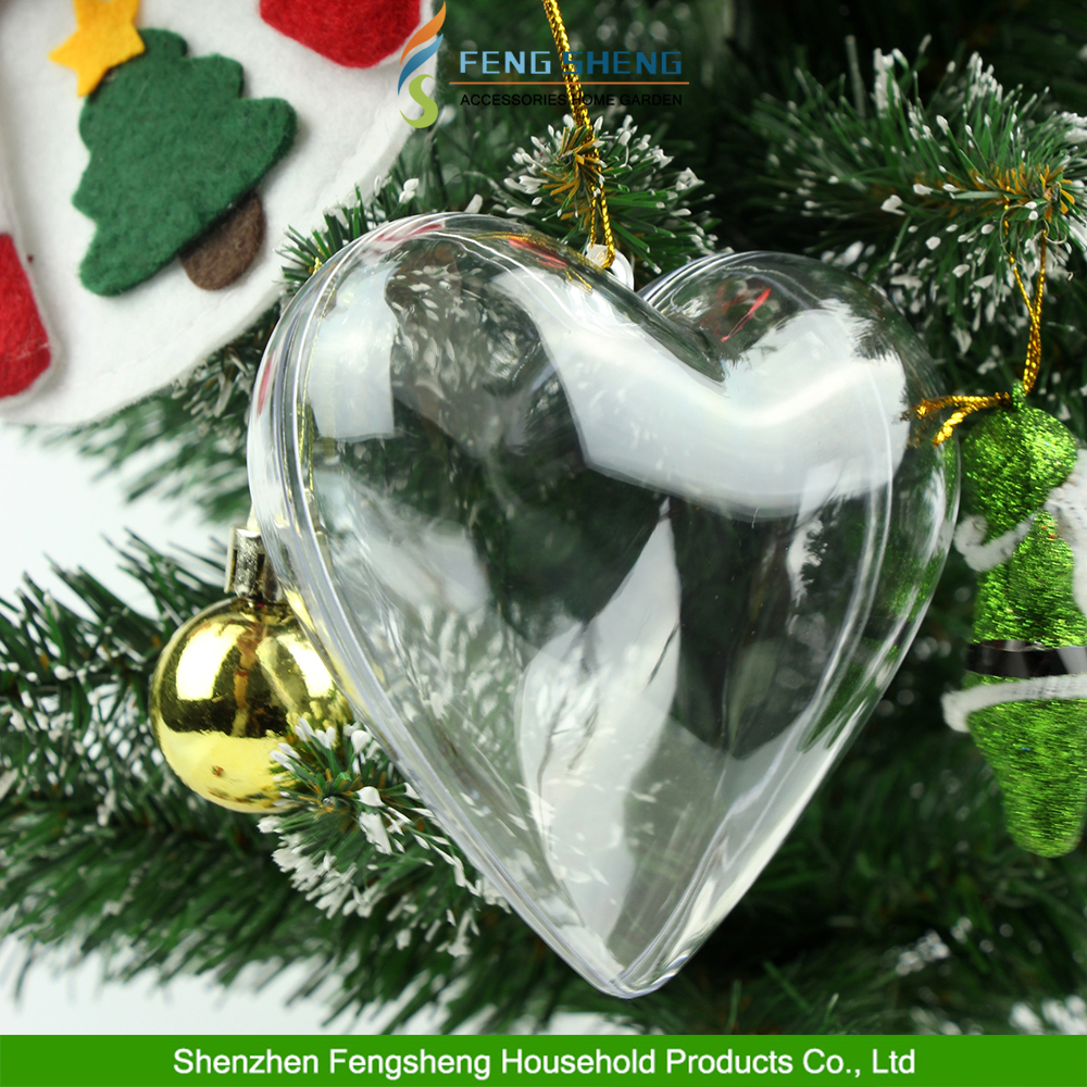 Clear Plastic Hearts Christmas Wedding Baubles Xmas Tree Decoration Hang Ball