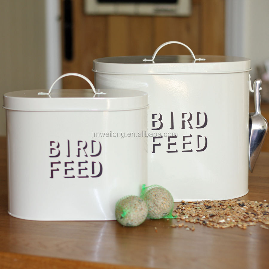 Chic Retro Large Cream Enamel Metal Bird Feed Storage Box Tin Bin Container
